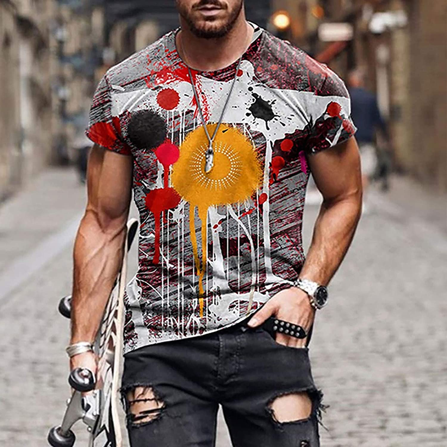 DZQUY Mens Casual Workout Short Sleeve T-Shirts Summer Hipster Hip Hop Vintage Printed Gym Muscle Tops Blouses