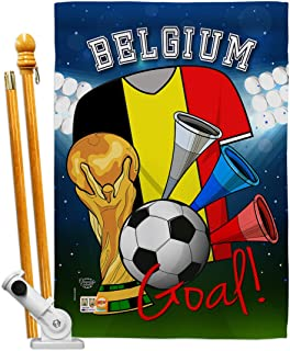 Ornament Collection HS192088-BO World Cup Belgium Soccer Interests Sports Decorative Vertical House Flag Set, 28