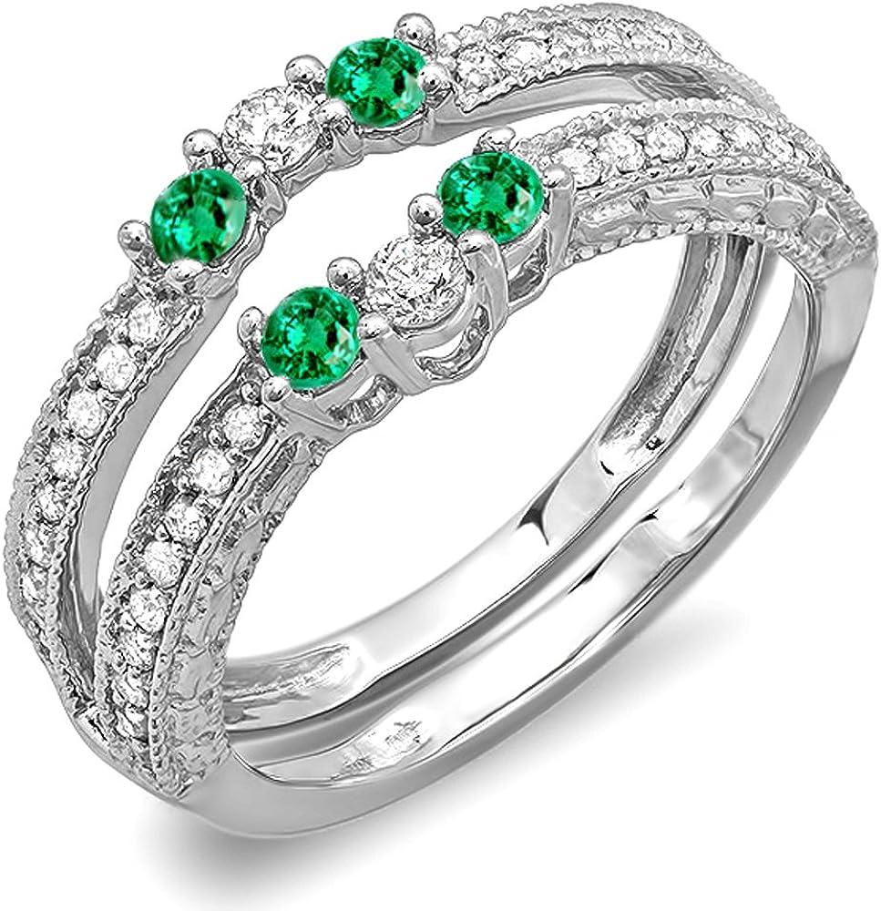 Dazzlingrock Collection 14K Round Emerald and White Diamond Ladies Anniversary Wedding Band Enhancer Guard, White Gold