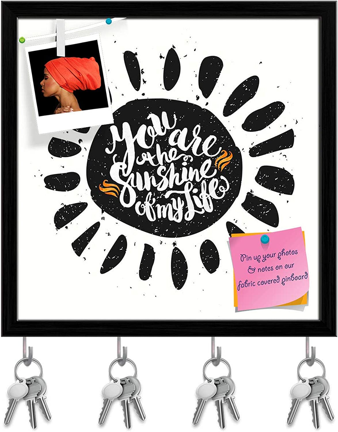 Artzfolio Sun with You are The Sunshine of My Life Key Holder Hooks   Notice Pin Board   Black Frame 20 X 20Inch