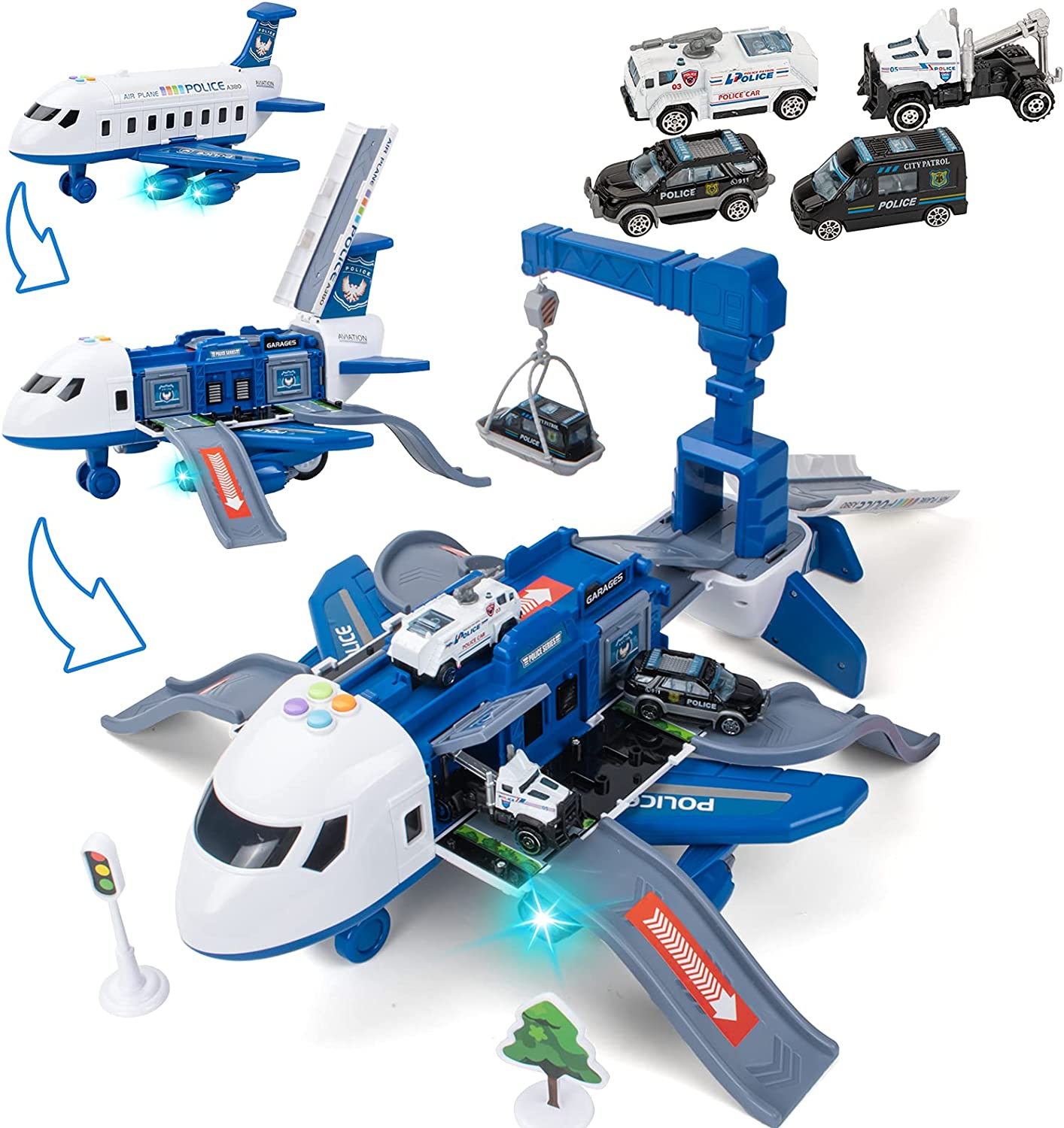 UNIH Transport Cargo Airplane Toy with Kids 4 Choice Police A Cars Factory outlet
