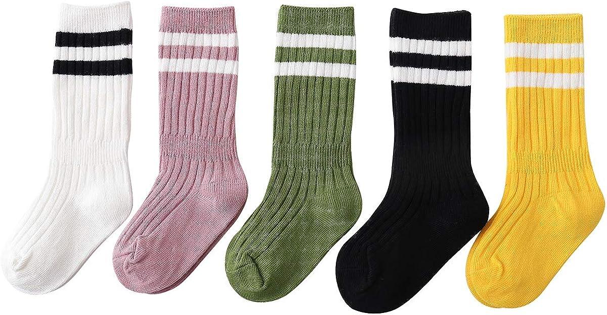 Ninecoo 5/6 Knee High Tube Socks for Boys, Girls, Baby, Toddler and Kids Infant Cotton Stripe