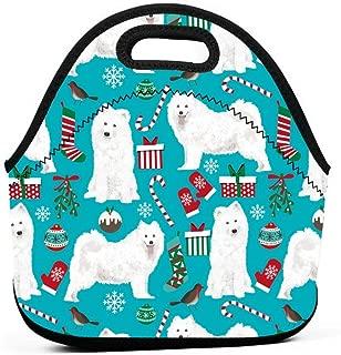 サモエドクリスマスドッグサモエドドッグサミードッグドッグクリスマスデザインホリデークリスマスクリスマスドッグランチバッグ断熱サーマルランチトートアウトドアトラベルピクニックキャリーケースランチボックスハンドバッグ付きジッパー