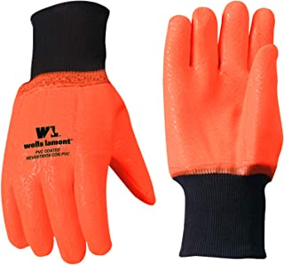 Chemical Resistant Cold Weather Work Gloves, PVC Coated, High Visibility, One Size (Wells Lamont 164)