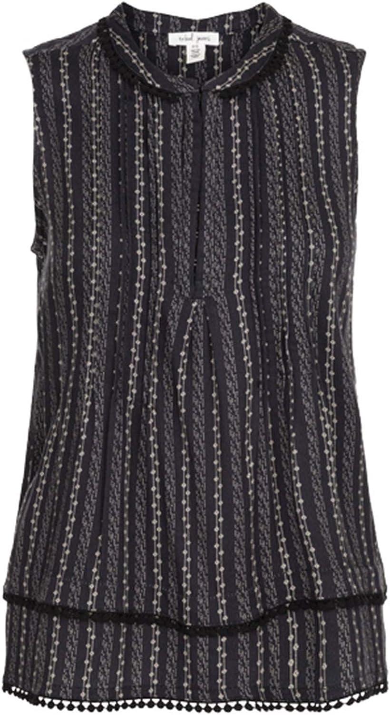 Tribal Sleeveless Tuck Pleats Blouse Top  Black