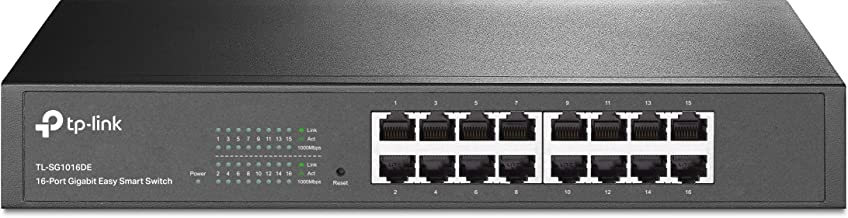 TP-Link TL-SG1016DE - Gigabit Ethernet Switch de 16 puertos (Unmanaged Pro switch, Plus no Gestionado, Plug and Play, Escritorio, Montaje en Bastidor, Metal Sin Ventilador, Vida Útil limitada)