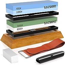 Razorri Slijpstenen set, dubbelzijdig 400/1000 en 3000/8000 grit slijpstenen met afsluitsteen, hoekgeleiding, bamboebasis,...