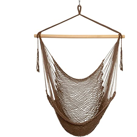 Hammock Chair-Max 300Lbs, Mesh Hanging Netted Cotton Rope Hammock Swing Chair Soft,Comfortable, Lightweight - for Indoor & Outdoor Garden Yard