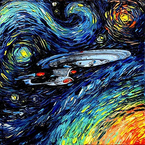 CANVAS Star Trek Art Starship Enterprise space print van Gogh Never Boldly Went art starry night Aja 8x8, 10x10, 12x12, 16x16, 20x20, 24x24, 30x30 inches