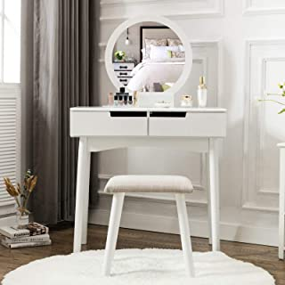 HONBAY Vanity Table Set with Round Mirror 2 Large Sliding Drawers Makeup Dressing Table with Cushioned Stool, White
