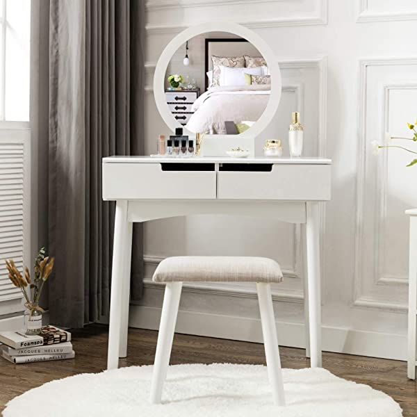 HONBAY Vanity Table Set With Round Mirror 2 Large Sliding Drawers Makeup Dressing Table With Cushioned Stool White
