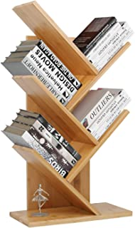Tree Bookshelf, Bamboo Wood Bookcase Rack 4-Tier Book Rack, Free-Standing Holder Organizer, Book Storage Organizer Shelves, Books/CDs/Albums/Files Holder, Display Storage Rack for Home, Office