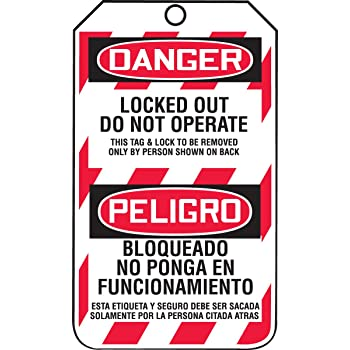 PF-Cardstock Accuform TSP107LCP Self-Laminating Spanish Bilingual Lockout Tag Legend DANGER EQUIPMENT LOCK-OUT MY LIFE IS ON THE LINE!// PELIGRO EQUIPO BLOQUEADO /¡MI VIDA ESTA EN PELIGRO! PHOTO HERE 5.75 Length x 3.25 Width x 0.010 Thickness