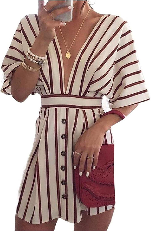 REWORDGT Womens Stripes Short-Sleeve Plunge Neck Max Sacramento Mall 60% OFF Sho V Button-up