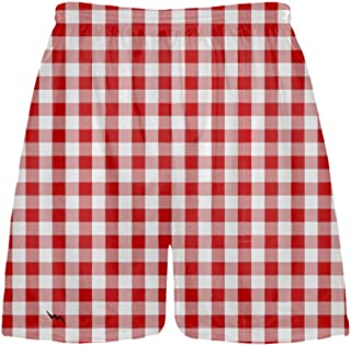 Youth Tablecloth Shorts - Sublimated Lacrosse Shorts, red