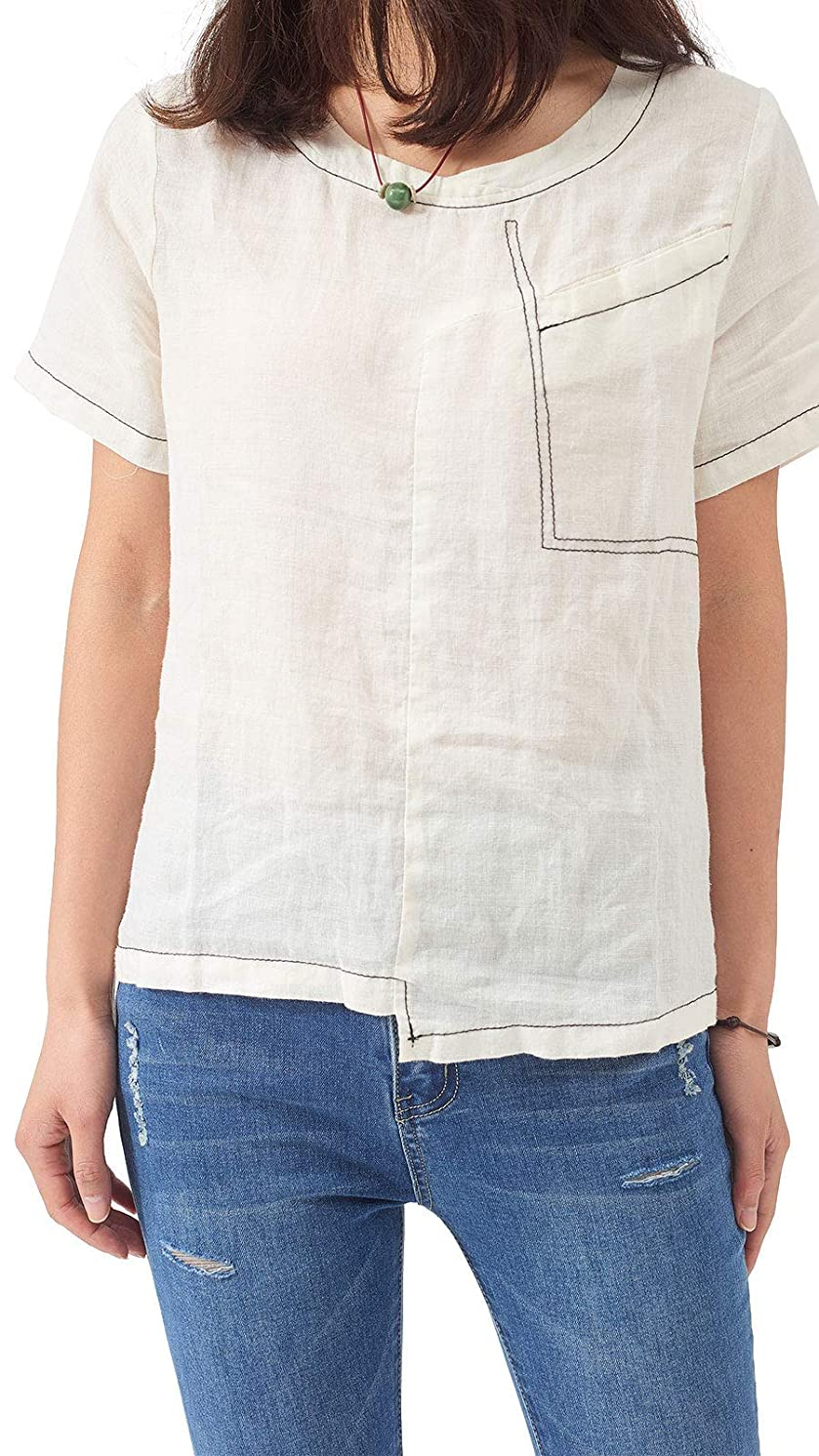 Les umes Women's Plus 100% Linen T-Shirt Crop Tops Casual Loose Short Sleeves Basic Tee