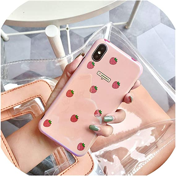 Amazon.com: Kawaii Japanese Pink Strawberry Blu Ray Phone Case for iPhone 7 7 Puls 6 6S 7 8 Puls X Xs Cases Retro Soft Silicone Cover Coque,for iPhone 8,A