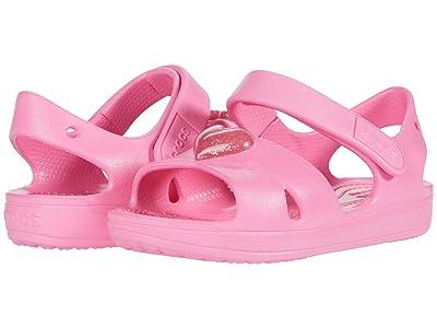 Crocs Kids Classic Cross Strap Sandal (Toddler/Little Kid) (Pink Lemonade) Girl