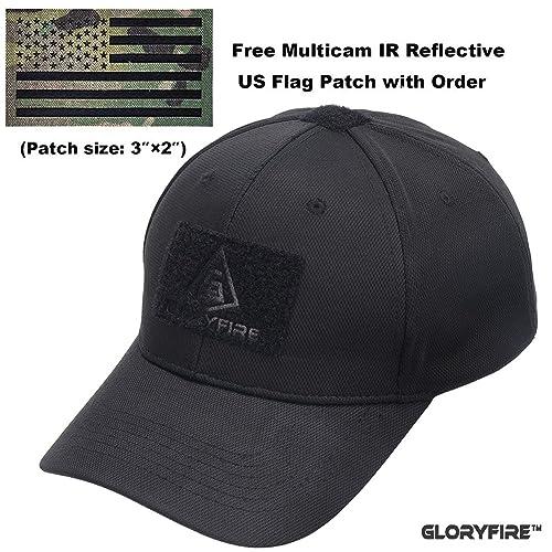 GLORYFIRE Tactical Cap Flex Adjustable Hat Flexible Baseball Cap 2 Hook and  Loop Panels for Patches a922ea64a6