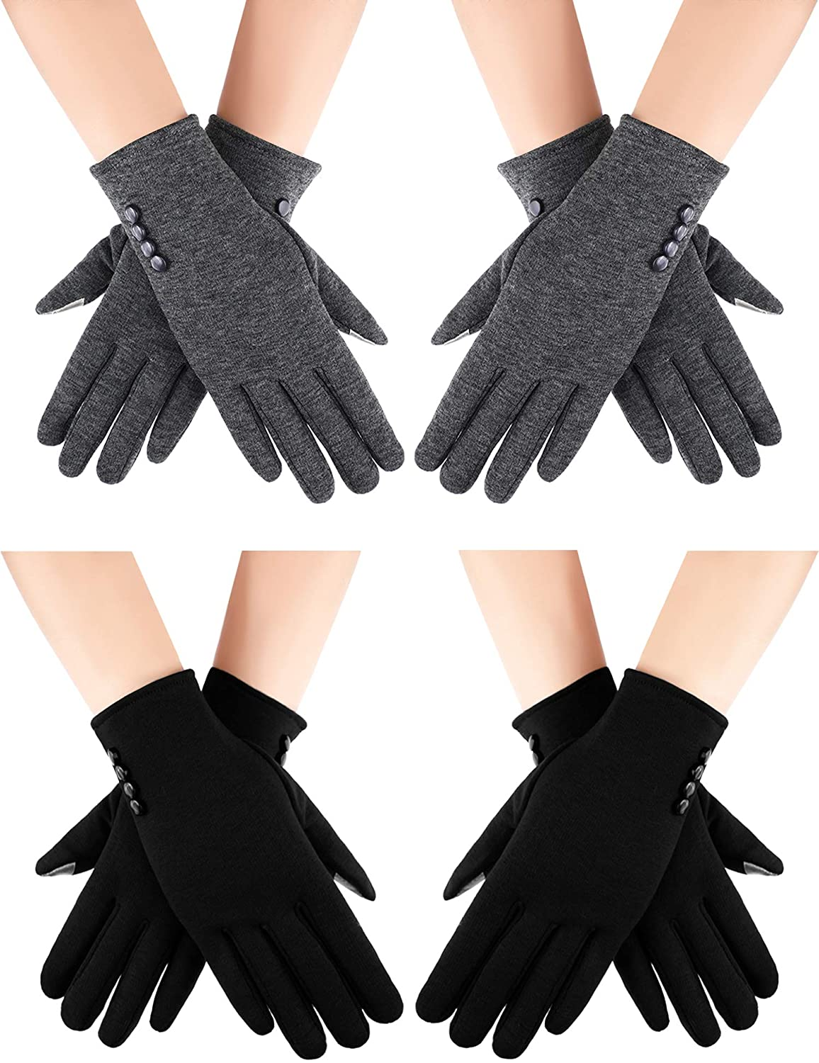 4 Pairs Women Winter Touch Screen Gloves Windproof Texting Warm Winter Gloves