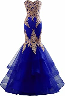 Changuan Women's Mermaid Evening Dress, Backless Formal Long Prom Dress W/ Embroidery