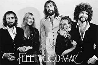 ملصق مطبوع عليه صورة فنية لموسيقى Fleetwood Mac Group 1977 مقاس 36x24 من Buyartforless ، أسود، أبيض، رمادي