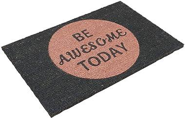 Relaxdays Paillasson fibres de coco écologiques 60x40 BE AWESOME TODAY tapis de sol tapis d'entrée support antidérapant c
