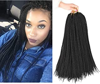 AliRobam 6Packs 18inch Havana Twist Crochet Braids 30strands/Pack Synthetic Kanekalon Ombre Crochet Braid Braiding Hair Extensions (18inch, 1B)