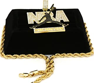 Black Cz Youngboy Never Broke Again NBA 14k Gold Pendant Necklace with 24