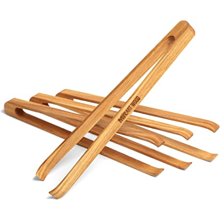 """Mr.Art Wood Mini Wooden Appetizer Tongs (Pack of 4), 6"""" Length - Made in Europe, Lightweight, Easy Grip, 100% Natural One-Piece Ash Wood"""
