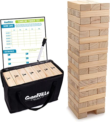 Giant Tumbling Timber Toy - Jumbo JR. Wooden Blocks Floor Game for Kids and Adults, 56 Pieces, Premium Pine Wood, Car...