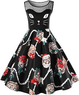 CharMma Women's Christmas Plus Size Sleeveless Illsion Neck Cat Print Party Dress