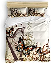 Vandarllin Full Size Bedding Sets - Butterfly Music Note Harp Duvet Quilt Cover Set with 2 Decorative Pillowcases for Childrens/Kids/Teens/Adults, 3 Pieces, 50% Cotton+50% Polyester