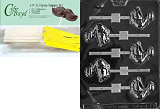 Cybrtrayd 'Swimming Duck Lolly' Easter Chocolate Candy Mold with Lollipop Supply Bundle, Includes 25 Lollipop Sticks, 25 C...