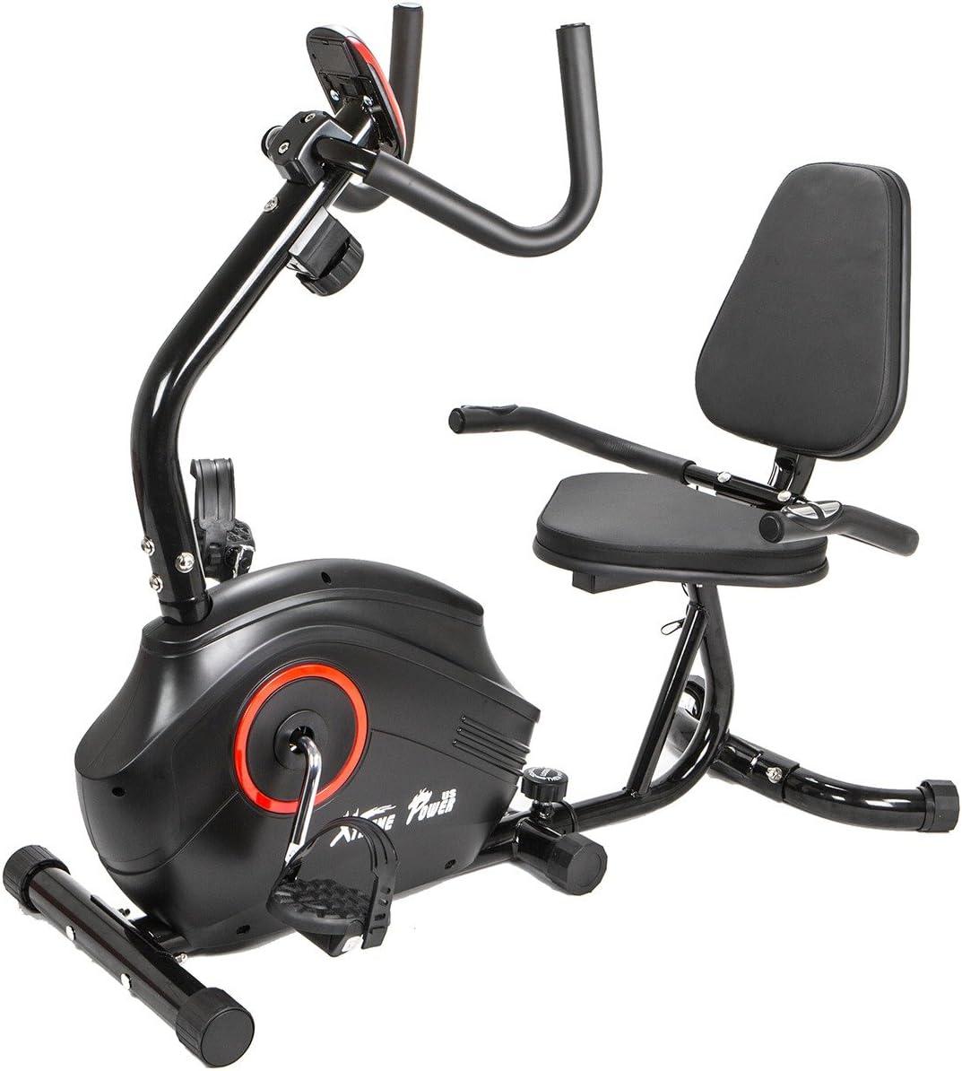 XtremepowerUS Deluxe Recumbent Fitness Exercise Bike 8 Level Mag
