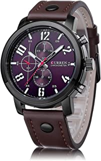 CarvTime メンズ腕時計 Curren ファッションカジュアル レザー 腕時計革クォーツ時計ベルトビジネス男性腕時計
