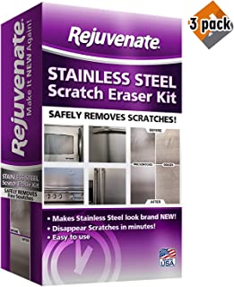 Rejuvenate Stainless Steel Scratch Eraser Kit Safely Removes Scratches Gouges Rust Discolored Areas Makes Stainless Steel Look Brand New - 6 Piece Kit, 3 Pack