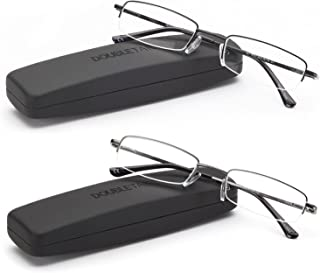 DOUBLETAKE Reading Glasses – 2 Pairs Compact Case Included Semi Rimless Readers