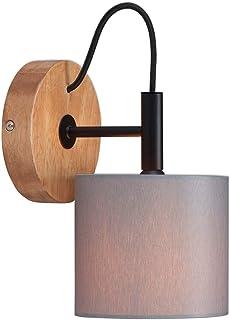 Briloner Leuchten Foco, Aplique de Pared, Retro, Vintage, 1x E14, Metal Pantalla de Tela, 125x178 mm (Diámetro x Distancia Frontal), Color Negro Y Gris Madera