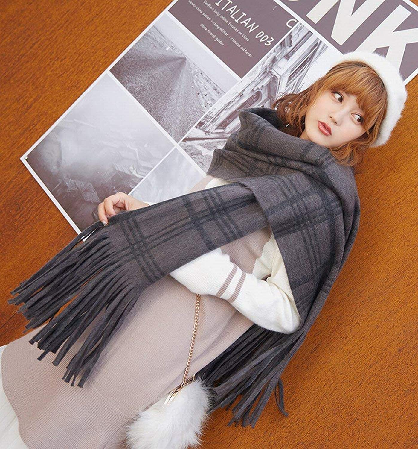 Juexianggou Scarf Female Autumn d Winter Wild Thick Long Fringed Students Shawl Students DualUse Lightweight Women Scarf