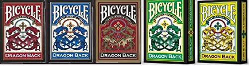 Set mit 5 Spielkarten-Decks mit Drachenrücken, Rot, Blau, Gold, Gelb und Grün
