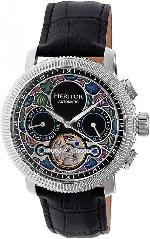 Heritor,orologio automatico da uomo semi-scheletro,cinturino in pelle e cassa in acciaio inossidabile HERHR3501