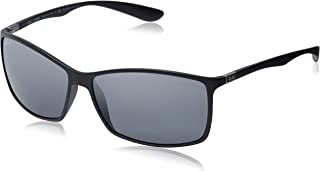 RAY-BAN RB4179 Liteforce Square Sunglasses, Matte Black/Polarized Silver Gradient Mirror, 62 mm