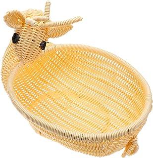 YARNOW Rattan Fruit Baskets Deer Shape Easter Candy Basket Egg Basket Plastic Food Serving Tray Woven Bread Baskets Weavin...