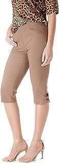 89th + Madison Women's Millennium Stretch Bow Trim Comfort Waist Capri Pants