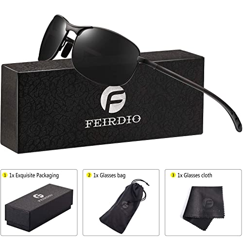 a55262b1410f Rectangular Sport Polarized Sunglasses for Men - Feirdio Mens Sunglasses  Sports Metal Frame 100% UV