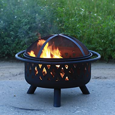 CGVOVOT Fire Pit Outdoor Wood Burning Pits Portable Firepit for Outside Patio Campfire Bonfire Grill Poker Spark Screen Round
