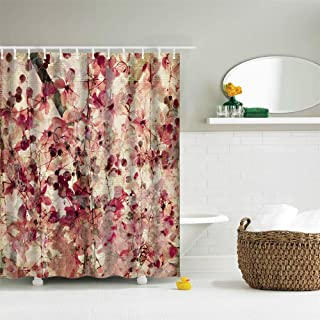72 x 72 inches Fabric Shower Curtain with Hooks Beautiful Pink Burgundy Flowers Leaves Tree Branch Pink Florals Brown Leaves Bathroom Decor Waterproof Machine Washable