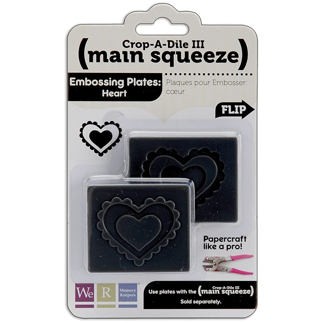 American Crafts We R Memory Keepers Crop-A-Dile III Main Squeeze Embossed Supplies, Heart