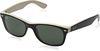 New Ray Ban RB2132 875 Black on Beige Frame/Crystal Green 52mm Sunglasses